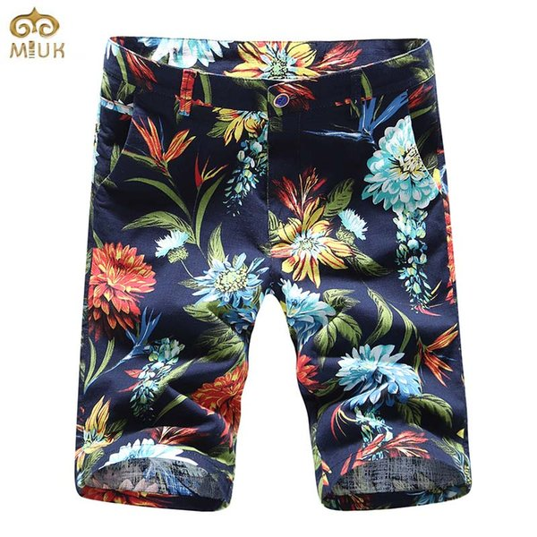 Wholesale- MIUK Large Size Men's Floral Shorts Brand 2017 Casual Man Shorts Summer Style Short Trousers White Blue bermuda masculina 29~40