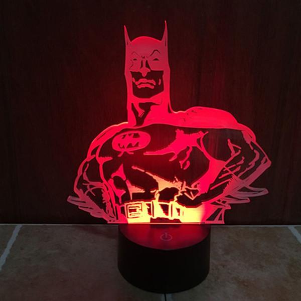 NOUVEAU 3D Batman Acrylique Chambre Nuit 7 couleurs changeantes LED Lampe de table Lampe de bureau