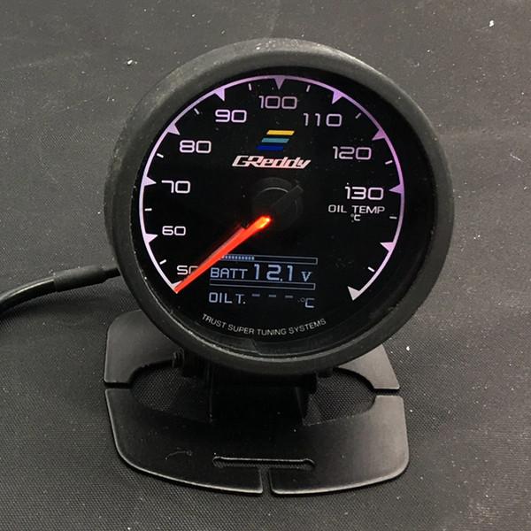best selling 62mm 2.5 Inch 7 Color in 1 Racing GReddy Multi D A LCD Digital Display Oil Temp Gauge Oil Temperature Sensor