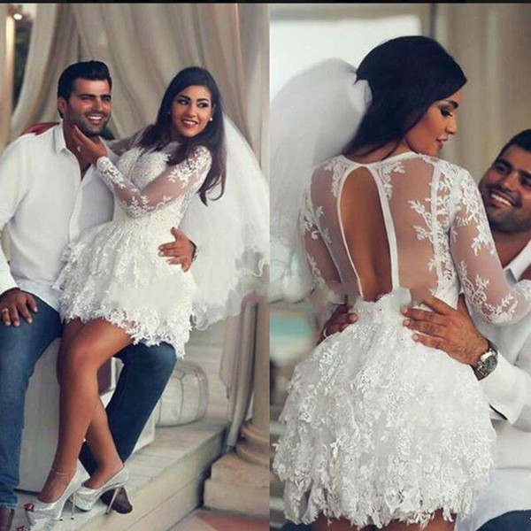 Discount Latest Design Plus Size Short Wedding Dress 2019 Long Sleeve Sexy Sheer Bridal Gowns Mini Lace Tiered Custom Made Fashion Appliques Hollow