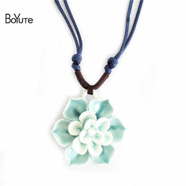 BoYuTe 2 Colors Diy Handmade Adjustable Rope Chain Ceramic Pendant Lotus Flower Necklace Vintage Style Necklace