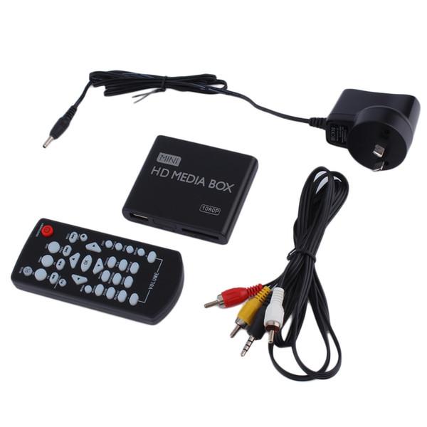 Wholesale-AU EU US Plug Mini Media Player HDMI Media Box TV Video Multimedia Player Full HD 1080p Support MPEG/MKV/H.264 HDMI AV USB Black
