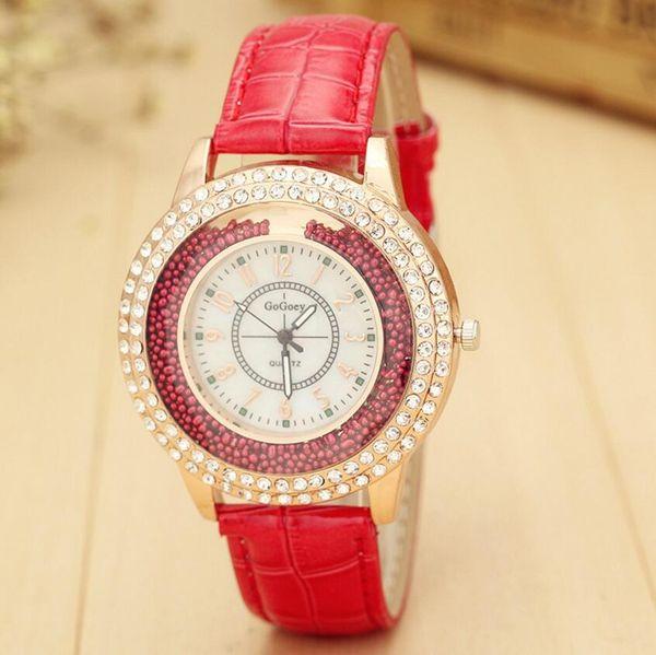 Moda Perlas de Perlas de Cristal Reloj de Cuarzo Mujeres Retro Banda de Cuero arena de deriva Relojes de pulsera 2 filas de diamantes de imitación reloj Casual Reloj de pulsera reloj
