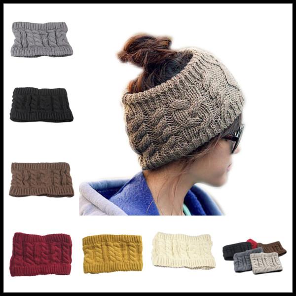 8987bb482 2019 Winter Trendy Women Wide Crochet Headband Messy Bun Ponytail Womens  Skull Caps Ladies Hats Beanies Ear Warmer From Gowolf, $2.02   DHgate.Com