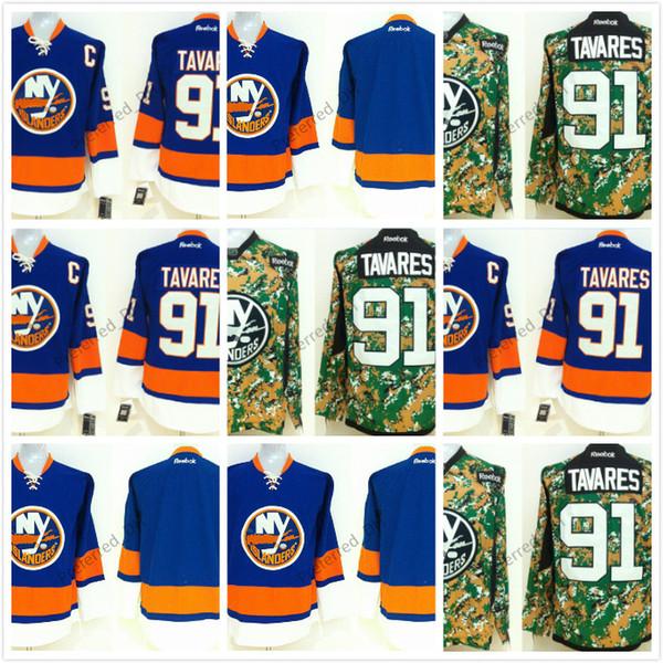 free shipping 42e97 bb485 Compre Cheap New York Islanders Jerseys Hockey Sobre Hielo Jerseys TAVARES  # 91 Azul Blanco Negro Camo Drop Shipping 1 Unids A $25.39 Del Preferred_dh  ...