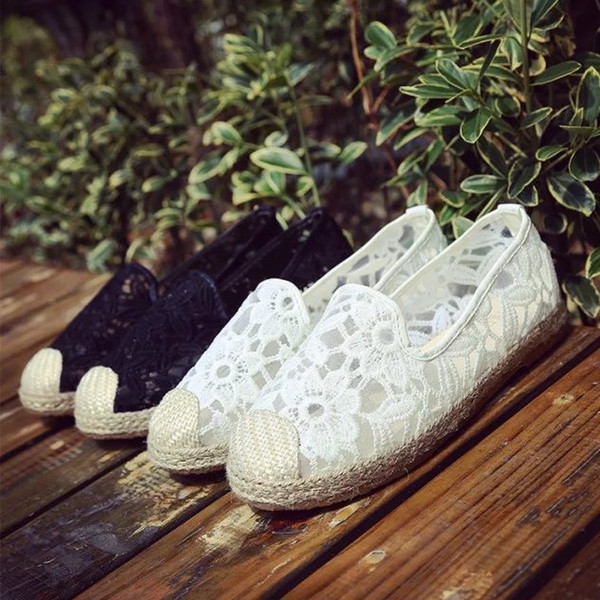 latest design the sale of shoes hot sale Casual Wedding Shoes Crochet Loafer Mesh Lace Floral Pattern Platform  Hippie Wedges Comfortable Going Out Shoes Bridal Shoes Low Heel Ivory  Bridal ...