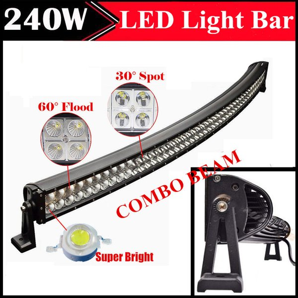 42 inch Curved 240W Car LED Bar Driving Work Light Bar Combo Beam Spot Flood IP67 Waterproof Off road ATV SUV UTE 4X4 Truck Trailer 12V 24V