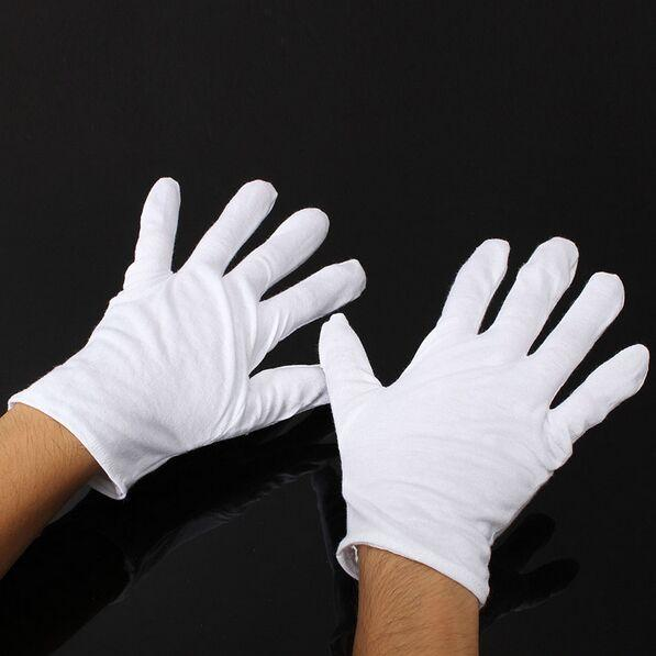 best selling 12 Pairs White Inspection Cotton Lisle Work Gloves Coin Jewelry Lightweight New