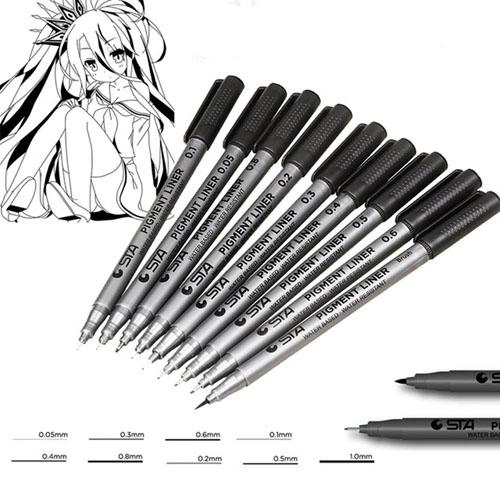 Pigma Micron Pens 9 Assorted Nib Size Micro-Line Ultra Fine Point Ink Pens Permanent Art Markers Manga Comic Sketching Drawing Brush Set