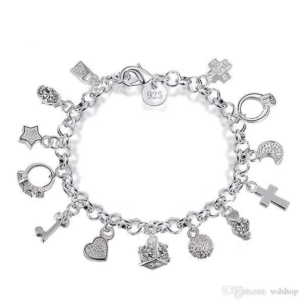 De luxe 925 Sterling Argent Plaqué Charmes Bracelets Avec Amour Croix Anneau De Lune Étoile Lune Clé 13 Pendentifs Bracelet Pour Les Femmes Cadeau Boîte Bijoux