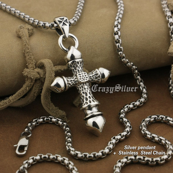 LINSION 925 Sterling Silver Huge Heavy Cross Mens Biker Rock Punk Pendant 8A043 Stainless Steel Necklace 24 inches