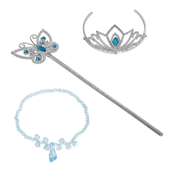 best selling PrettyBaby girls cinderella accessories crown magic wand necklace baby girls xmas sets rhinestones crown butterfly wand high heels necklace