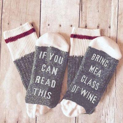 Großhandels-, wenn Sie dieses lesen können, holen Sie mir ein Glas Wein-Frauen Mens Winter-Frühlings-Baumwollwarme Socken
