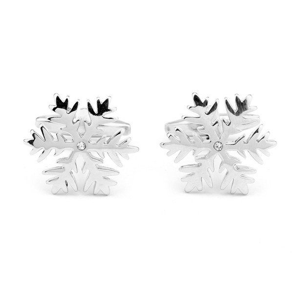 New Hot Sale Movie Cuff Links Snowflake White Crystals Fashion Charm Cufflinks For Men Shirt Wedding Gift Free Shipping