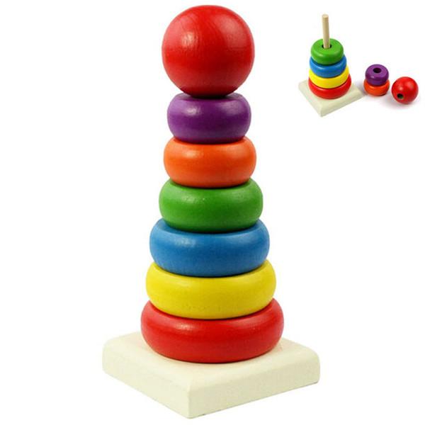 Kinder Baby Spielzeug Holz Stapeln Holz Lernspielzeug Stapeln Regenbogen Turm Ring Lernen Kinder Geschenke Spielzeug 1 Stk