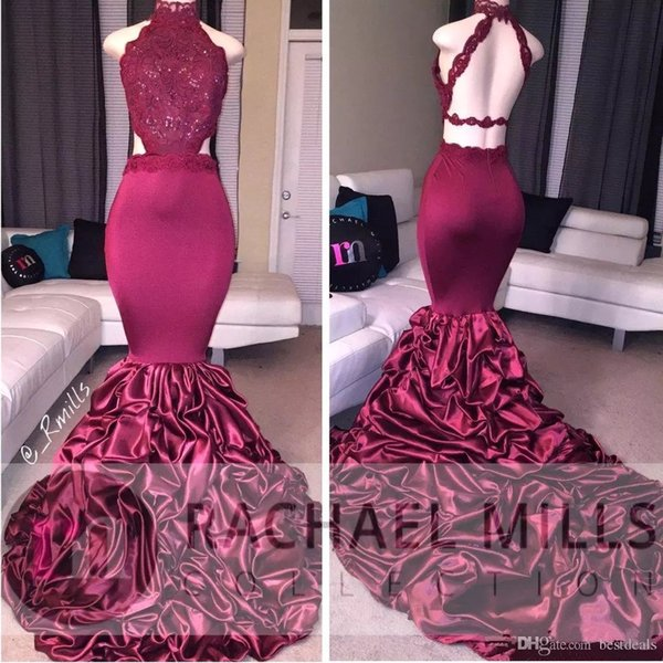 Burgundy Mermaid Long Prom Dresses 2019 African Lace Appliqued Sleeveless Open Back Sequins Ruffled Sweep Train Evening Party Gowns BA5125