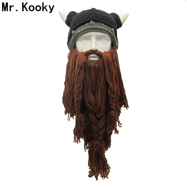 Herr .Kooky Männer Barbar Vagabond Viking Beard Beanie Horn Hüte Handmade Winter Warm Geburtstag Cool Geschenke Funny Gag Halloween Cap