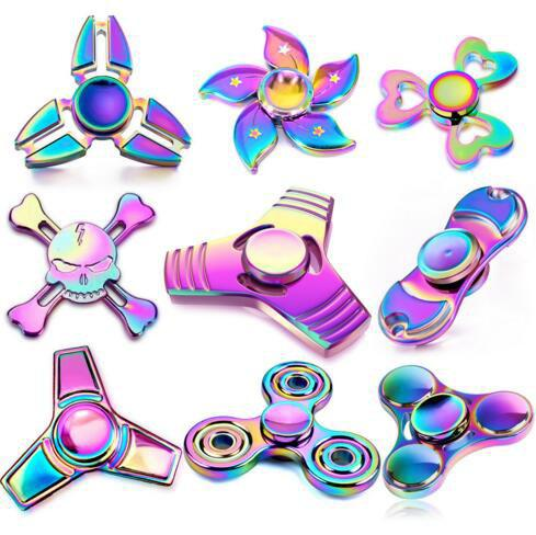 top popular Colorful Fidget Spinner Rainbow Metal Fidget spinners Finger EDC Toys Spins Spiral Gyro EDC Fidget With Retail Box 2019