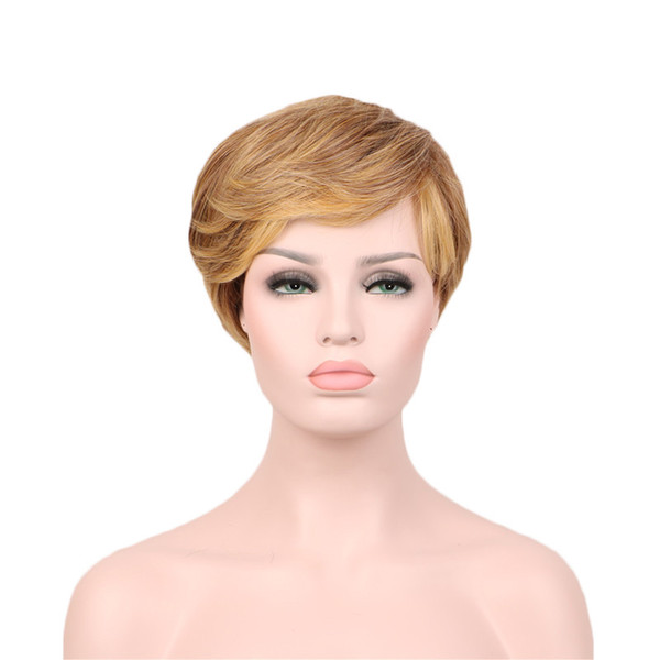 WoodFestival short ombre wig blonde gold heat resistant synthetic fiber wigs ladies fashion hair wig natural