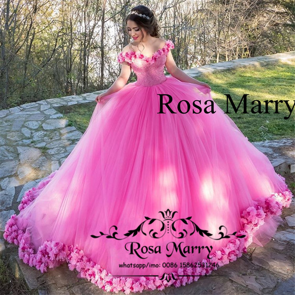 Princess Pink 3D Floral Ball Gown Prom Dresses 2020 Off Shoulder Heavy  Beaded Plus Size Puffy Tulle Arabic Dubai Quinceanera Party Gowns White  Formal ...