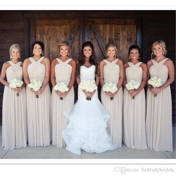 2017 Champagne Bridesmaid Dresses Chiffon A Line Long Straps Maid Of Honor  Gowns Floor Length Weddings Guest Dress Cheap Price Chiffon Bridesmaid ...