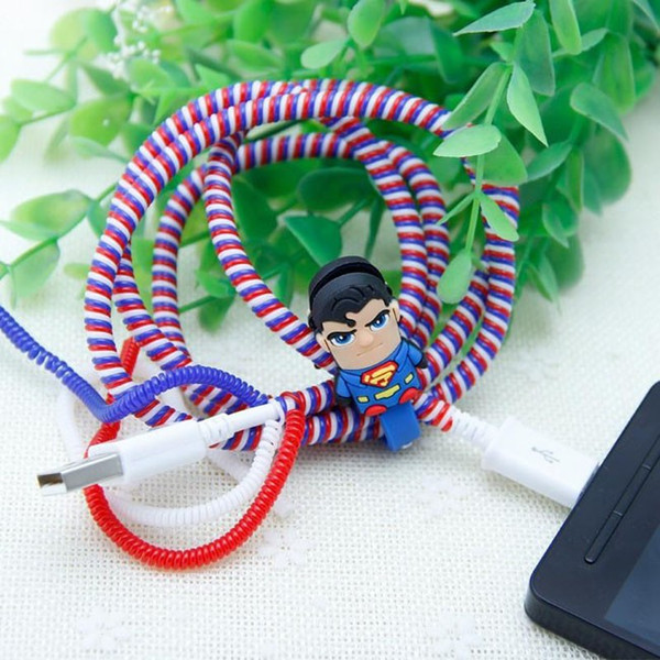 Enrouleur de câble de câble de chargeur USB en spirale en plastique de couleur / enroulement de câble d'enroulement pour organiser des câbles de charge, 50cm 1000pcs 1000pcs / lot