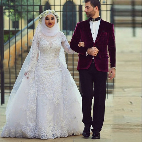 best selling Saidmhamad High Neck Fully Lace Applique Long Sleeves Muslim Wedding Dresses with Kerchief Crystals Bridal Dress vestido de novia