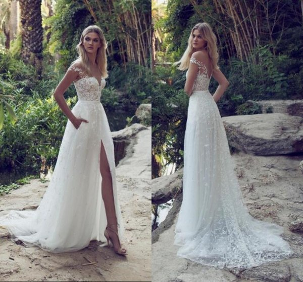 2019 Cheap Limor Rosen A-Line Lace Wedding Dresses Illusion Bodice Jewel Court Train Vintage Garden Beach Boho Wedding Party Bridal Gowns