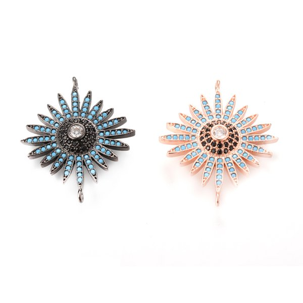 2 Color ECO-Friendly Micro Pave Cubic Zirconia Charm, Connector with Top Quality ICSP082, Size30.6*25.1mm