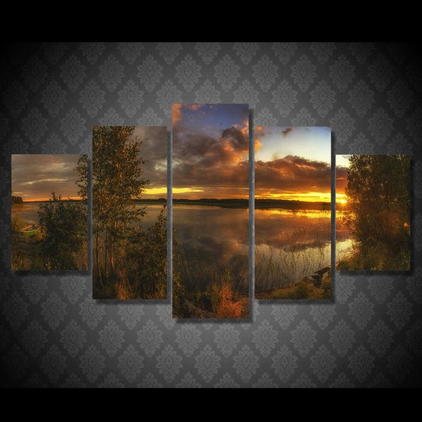 5Pcs/Set HD Printed Sunset Lake Tree Painting Canvas Print room decor print poster picture oil paintings canvas