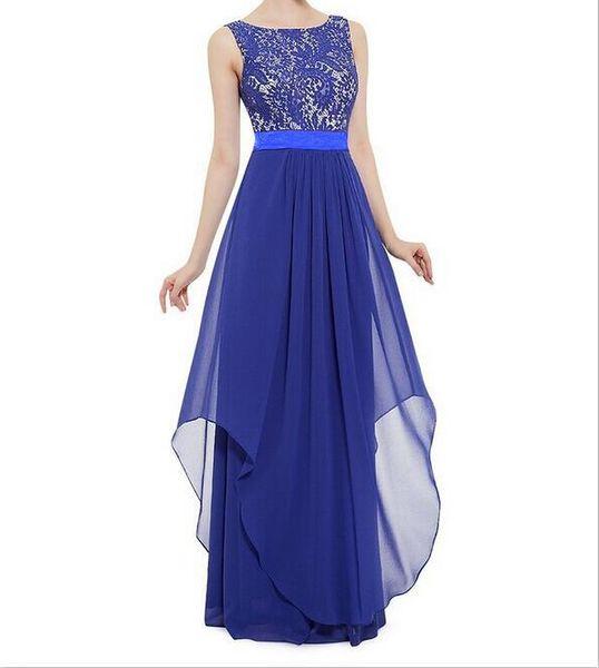 2017 new large size ladies' S - 3 xl chiffon stitching lace sleeveless vest connect dress skirt full-skirted dress