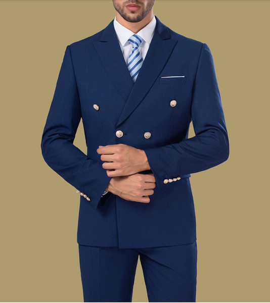 Chaqueta de traje ajustada de doble botonadura en azul