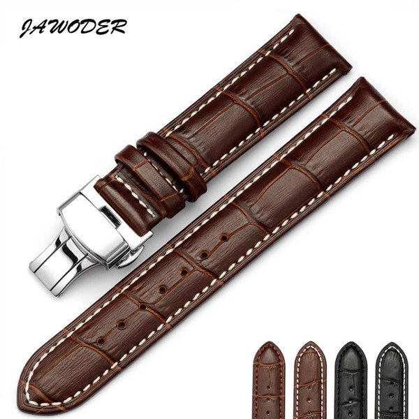 top popular JAWODER Watchband 18 19 20 21 22 24mm crocodile grain stitches pattern Genuine Leather watch band strap stainless steel buckle for rolex 2020