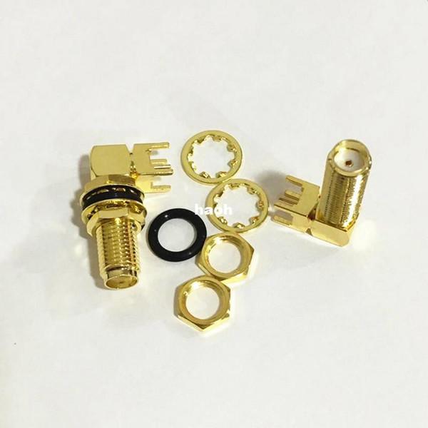 20Pcs\Lot Gold Copper Long SMA Adapter PCB Mount SMA Female Jack Right Angle Coaxial RF SMA Connector