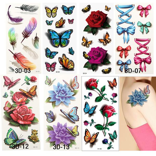 Wholesale- 7PCS = 7Styles 3D der Frauen bunte wasserdichte Körper-Kunst-Tätowierungs-Hülsen-DIY-Aufkleber-vorübergehende Tätowierungs-Rosen-Blumen-Tätowierung