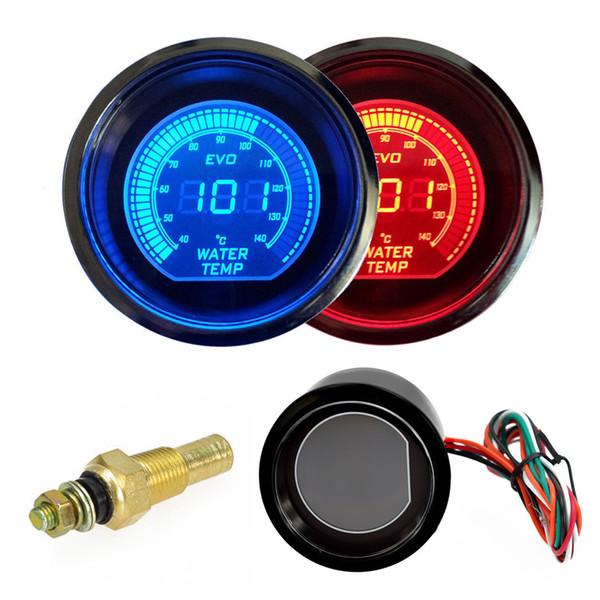 top popular Hot 2 inch 52mm Water Temperature Gauge 12V Blue & Red LED Light Tint Lens LCD Screen Car Digital water Temp Meter instrument 2021
