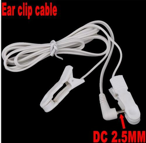 Electrode Lead Wires Connecting Cables with 2 Ear Clips for Digital TENS Therapy Machine Massager 2.5mm Plug 1.2m By dhl 500pcs