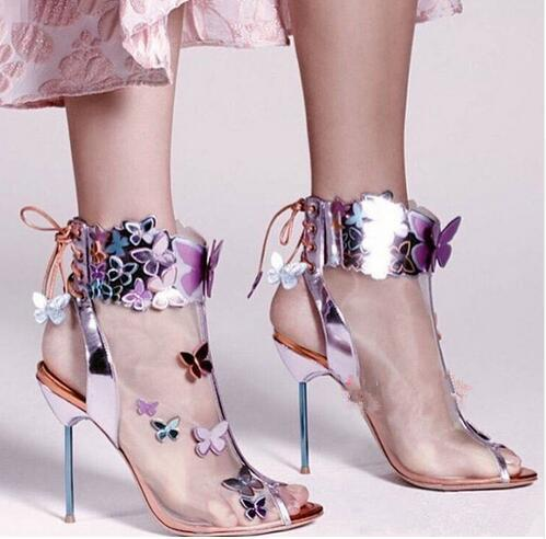 DHL free shipping Sophia Webster Harmony Mesh 3D Butterfly Bootie Rosa/Turquoise/Orange high heel women's summer peep toe sandals boots