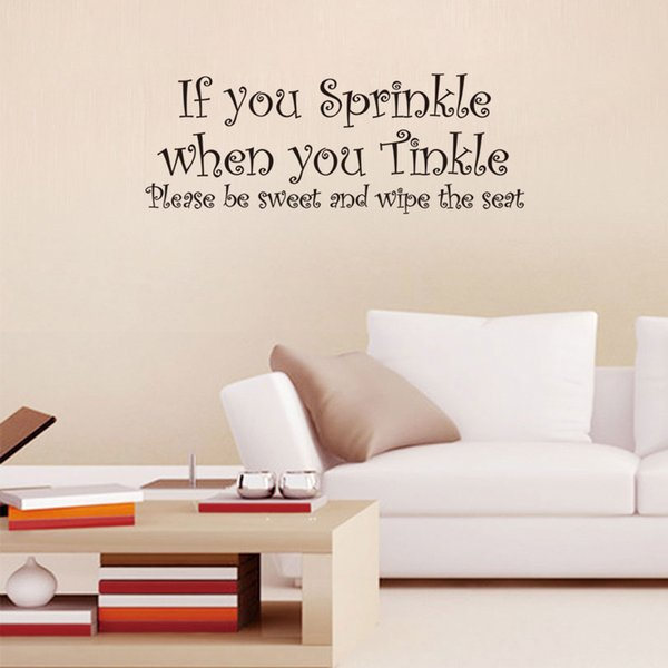 21*57cm House Rules Lettering Art Words wall stickers Living room Decals ''If you sprinkle ,pls wipe the seat''