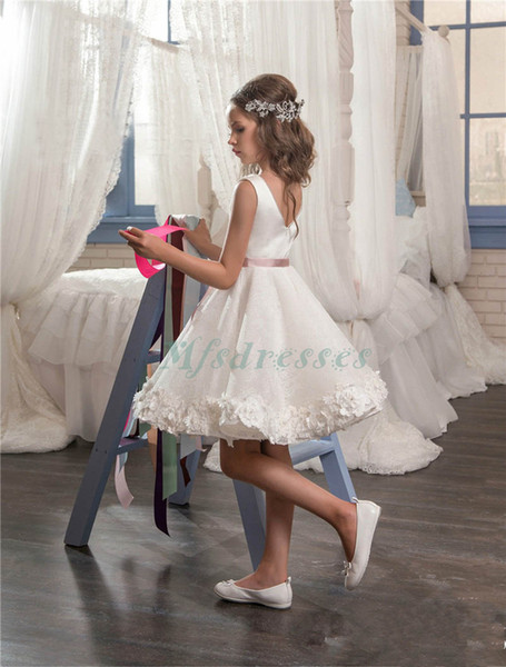 New Adorable Lace A-line Girl Short Flower Girl Dress with Sash Girls Birthday Chrismas Dresses Kids First Communion Dresses