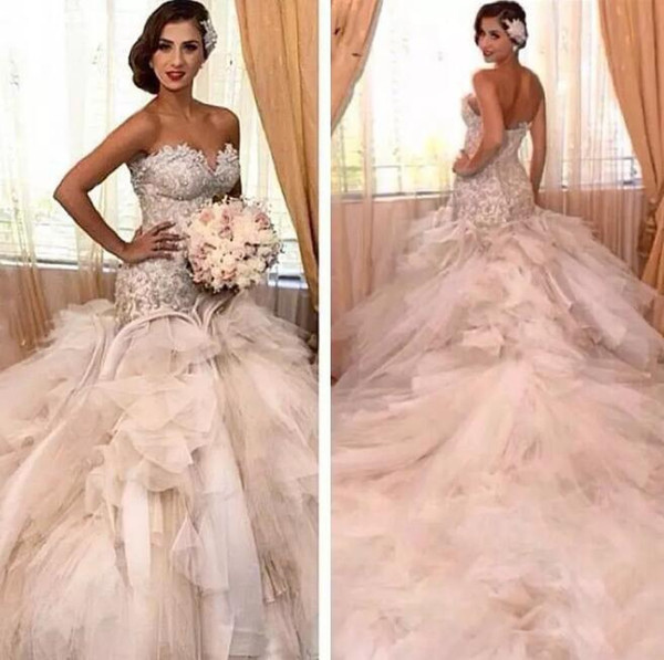 2019 Mermaid Wedding Dresses robe de mariage Luxury Diamonds Pearls Lace Corset Top Tiered Ruffls Tulle Arabic Bridal Gowns Cathedral Train