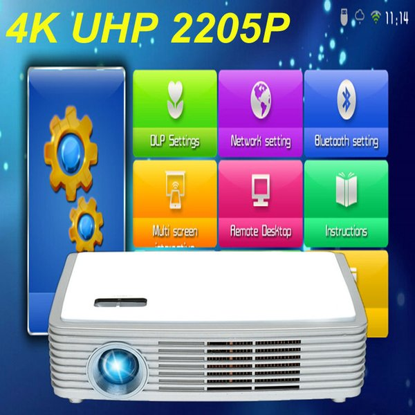 Wholesale-4K Chip Real 3D DLP LED Android 4.4 WiFi Smart Projector with Bluetooth 4.0 Miracast Wireless Display 2205P Proyector Beamer