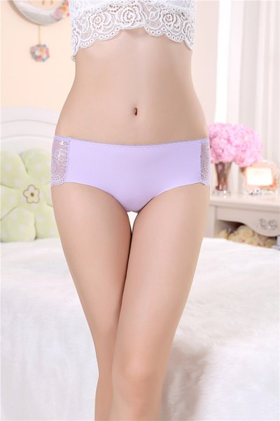 Free Size Mid-Waist Panties Seamless Briefs Women Nylon Lace Underwear Sexy Undies Underpants Lingeries for Female