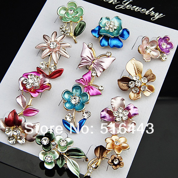 Charms 24pcs18K Gold Plated Enamel Anniversary Women Flower Brooches Wholesale Jewelry Lots A-634