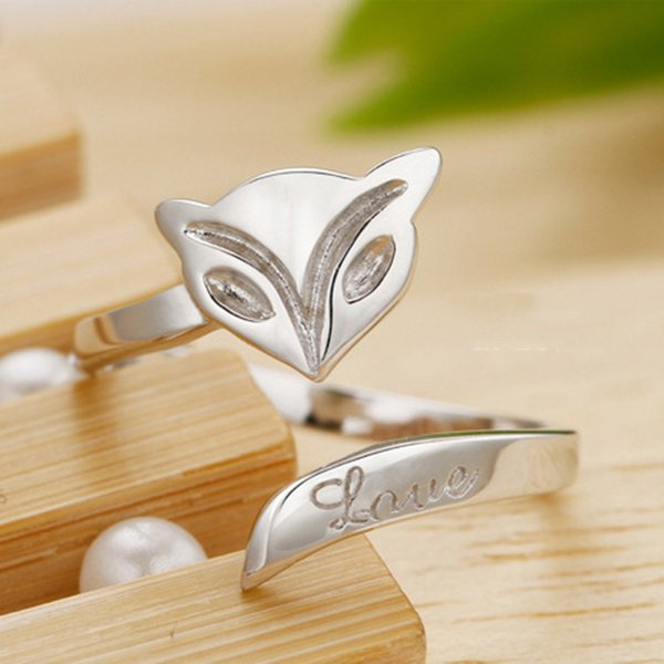 Friend gifts 925 sterling silver fox rings for women fashion adjustable fox rings wholesale sexy fox rings for ladies