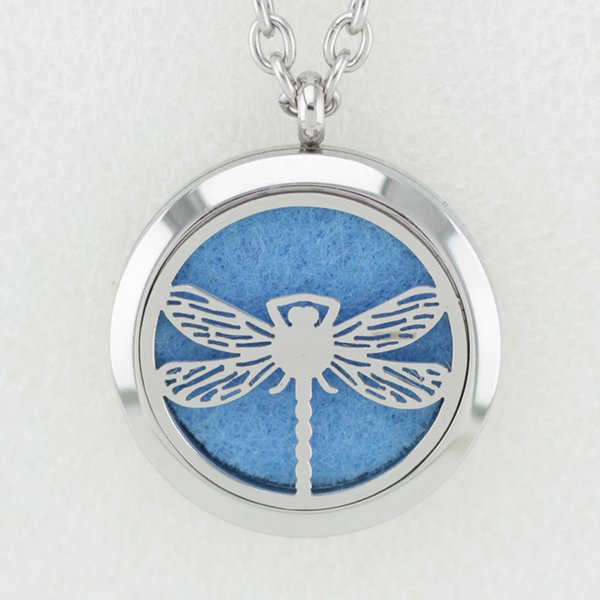 5PCS Silver Dragonfly 30MM Essential Oil Diffuser Perfume Locket Necklace Pendant Dolphin 316L Stainless Steel Necklace Pendant With Chain