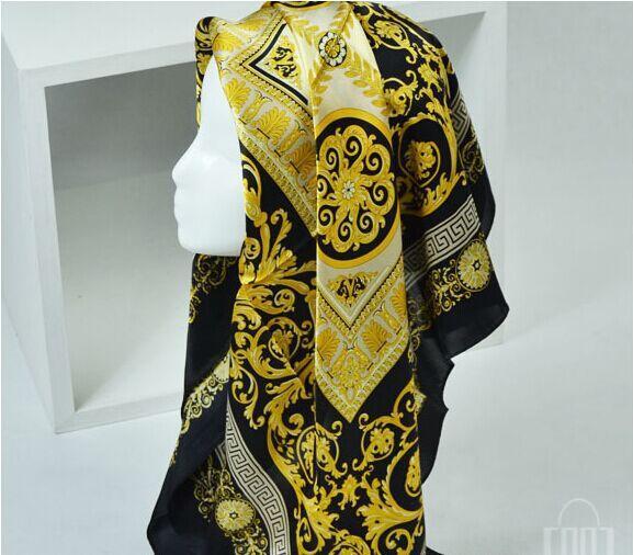 Berühmter Art-100% Silk Schals der Frau und der Männer Normallack-Goldschwarz-Hals-Druck-weicher Art- und Weiseschal-Frauen-Silk Schal-Quadrat
