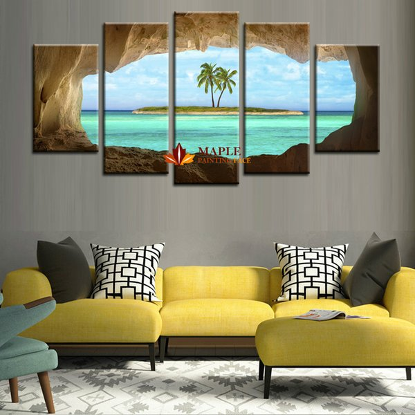 HD Prints 5 Piece Coconut Trees Island Canvas Painting Home Decoration Pictures Modern Wall Art Painting For Living Room