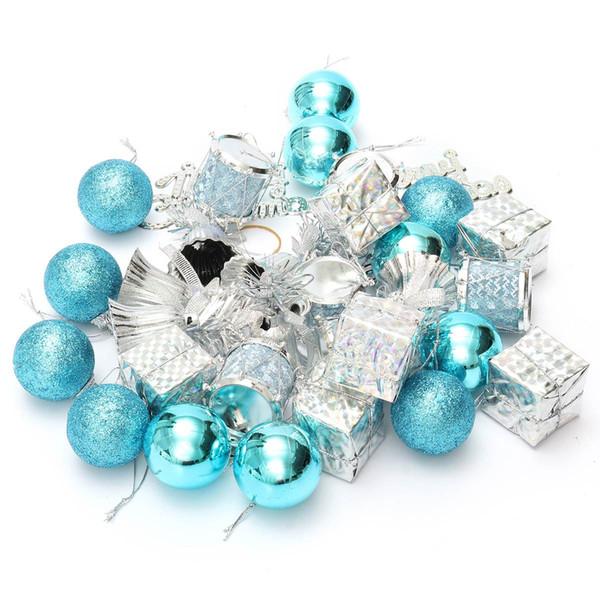 Wholesale-32Pcs/Pack Christmas Ornament Mini Gift Box Ball Pinecone Baubles Christmas Tree Pendant Xmas Ornaments Decorations