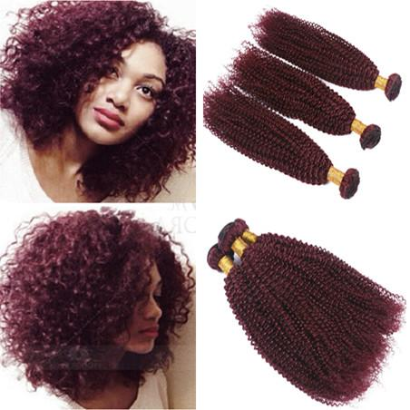 Wholesale Kinky Curly Peruvian Virgin #99J Wine Red Human Hair 3 Bundles Best Quality Burgundy Human Hair Extensions Double Wefts DHL Free